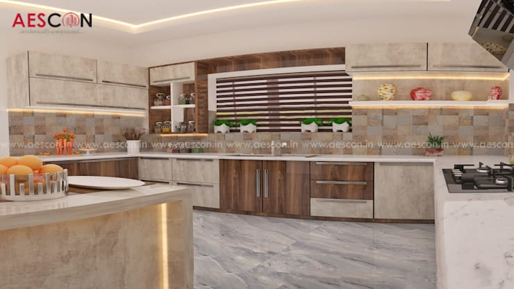 Kitchen by Aescon Builders and Architects, Asian