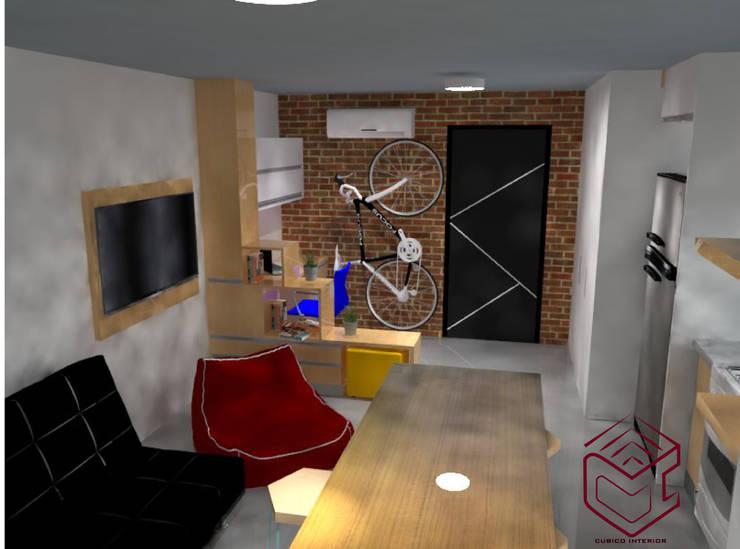 Vista de living estudio: Salas de estilo  por Cubicointerior