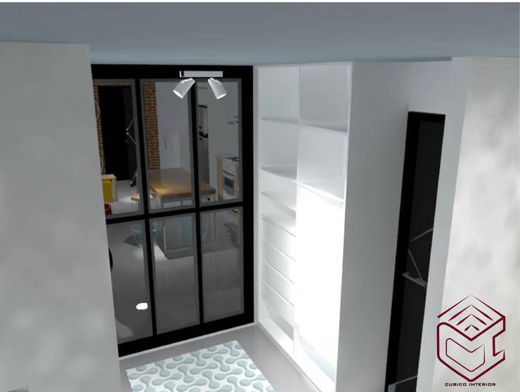 Vista de división para dormitorio, incluye vestier : Hogar de estilo  por Cubicointerior