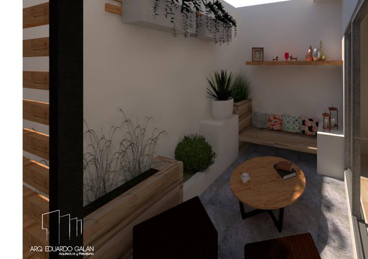 Terraza Casa Sta. Bárbara : Terrazas de estilo  por Arq Eduardo Galan, Arquitectura y paisajismo