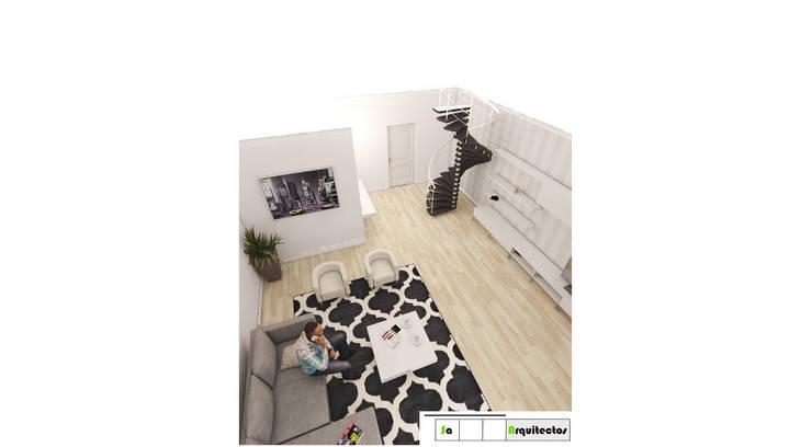 Vista general Salon y hall de acceso: Salas de estilo  por SaArquitectos, Minimalista