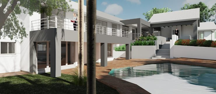 Exterior view – perspective view across pool (after):  Houses by Nuclei Lifestyle Design, Modern