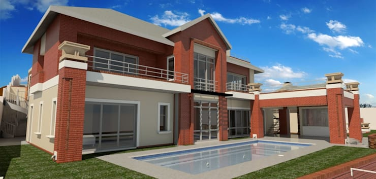 render of swimming pool area:  Houses by Nuclei Lifestyle Design