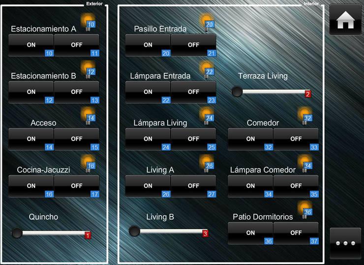 Interfaz para control de Iluminación: Hogar de estilo  por IDx Redes Limitada