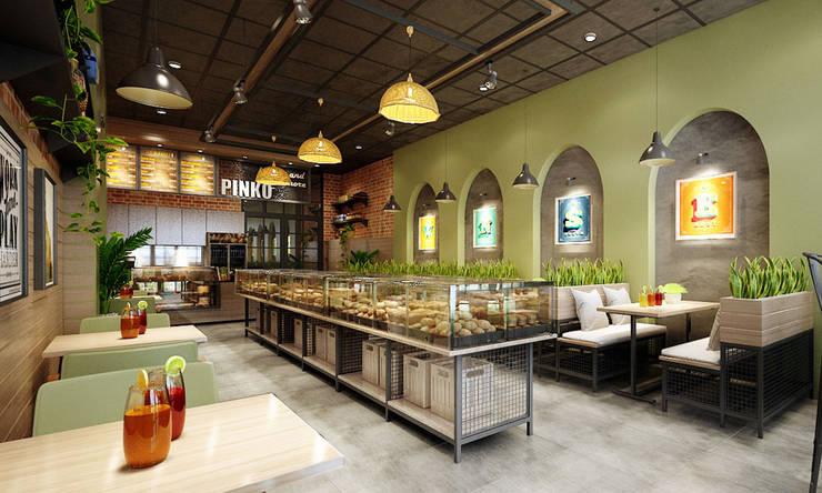 thiết kế nội thất tiệm bánh:  Phòng ăn by công ty thiết kế nhà hàng & quán cafe Hiện đại CEEB