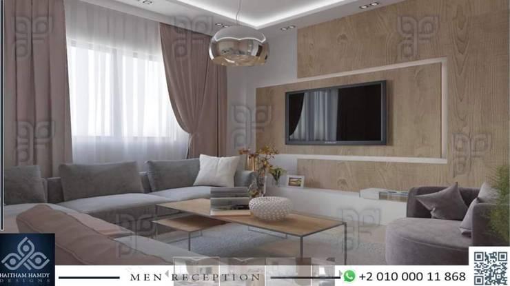 جدة:  غرفة المعيشة تنفيذ UTOPIA DESIGNS AND CONSTRUCTION