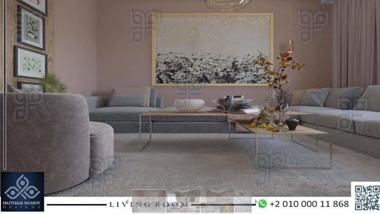 https://www.facebook.com/haithamhamdydesigns/:  غرفة المعيشة تنفيذ UTOPIA DESIGNS AND CONSTRUCTION