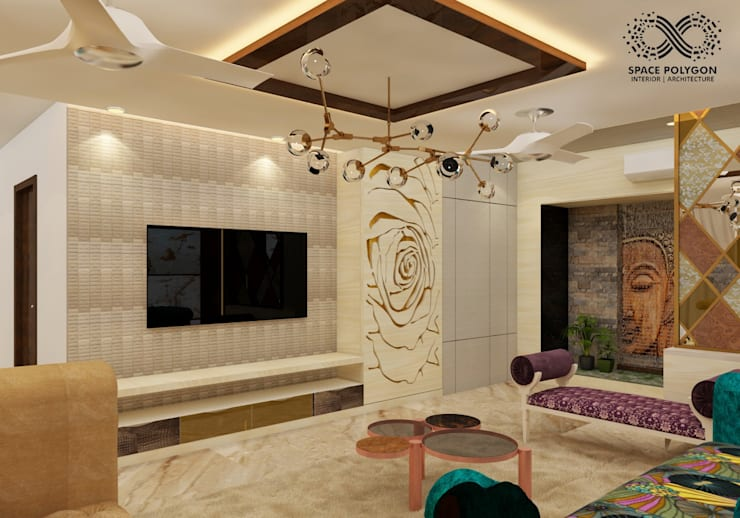 TV wall Panelling:  Living room by Space Polygon