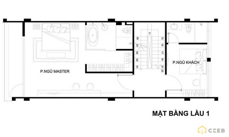 mặt bằng thiết kế nội thất căn hộ sang trọng hiện đại Galleria:   by nội thất căn hộ hiện đại CEEB