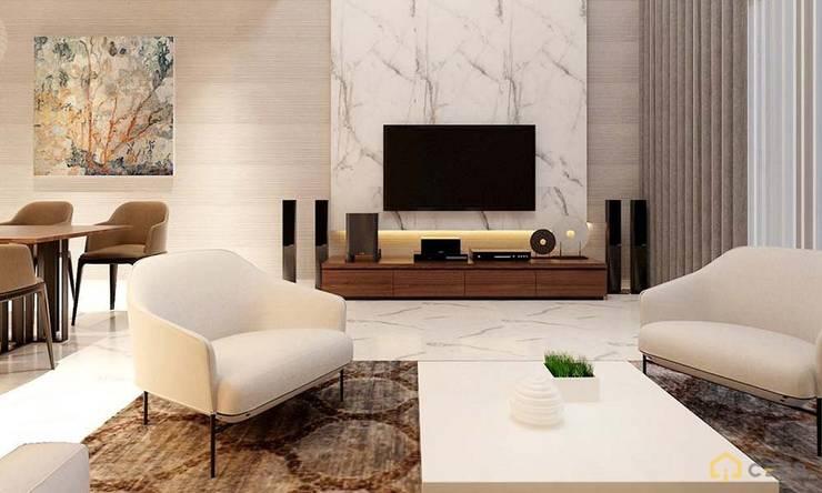 thiết kế nội thất phòng khách căn hộ sang trọng hiện đại Galleria:  Phòng khách by nội thất căn hộ hiện đại CEEB