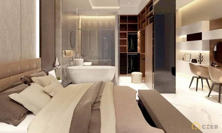 thiết kế nội thất phòng ngủ căn hộ sang trọng hiện đại Galleria:  Phòng ngủ by nội thất căn hộ hiện đại CEEB