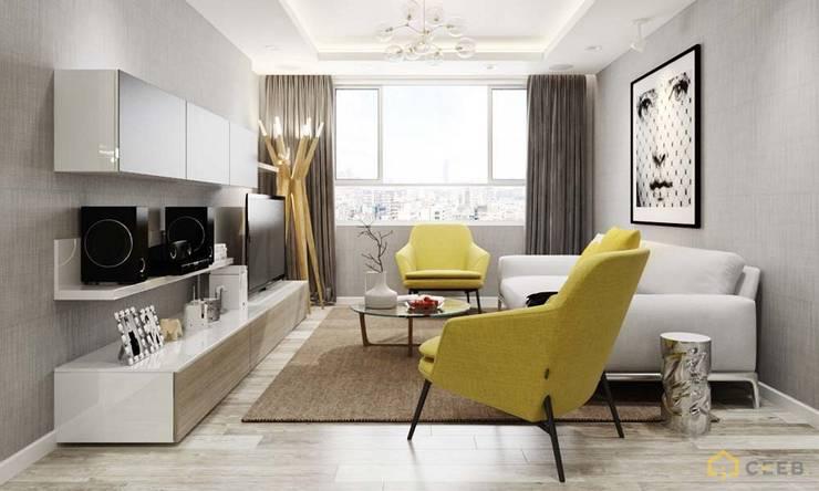 thiết kế phòng khách căn hộ Novaland hiện đại :  Phòng khách by nội thất căn hộ hiện đại CEEB