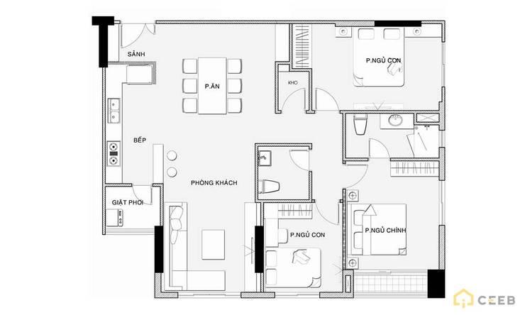 thiết kế mặt bằng nội thất căn hộ sang trọng Novaland Quận 2:   by nội thất căn hộ hiện đại CEEB