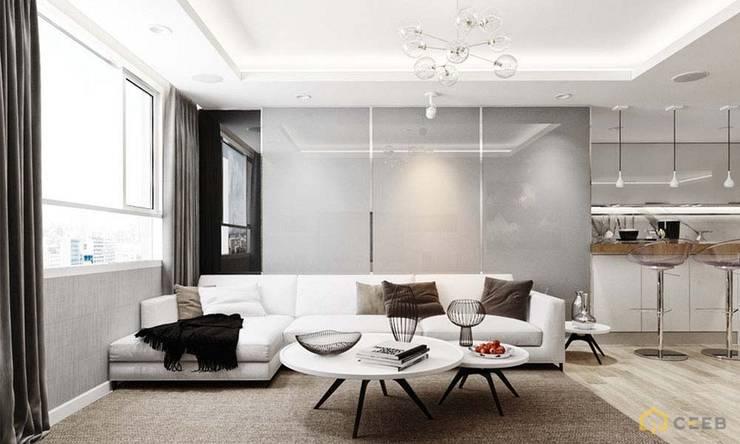 thiết kế nội thất phòng khách căn hộ sang trọng Novaland Quận 2:  Phòng khách by nội thất căn hộ hiện đại CEEB