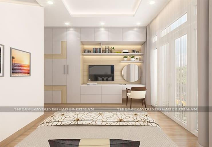 Mẫu nhà đẹp 3 tầng 5x12m đơn giản mà đẹp phù hợp với mọi gia đình:  Phòng ngủ by Công ty cổ phần tư vấn kiến trúc xây dựng Nam Long