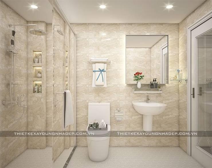 Mẫu nhà đẹp 3 tầng 5x12m đơn giản mà đẹp phù hợp với mọi gia đình:  Phòng tắm by Công ty cổ phần tư vấn kiến trúc xây dựng Nam Long