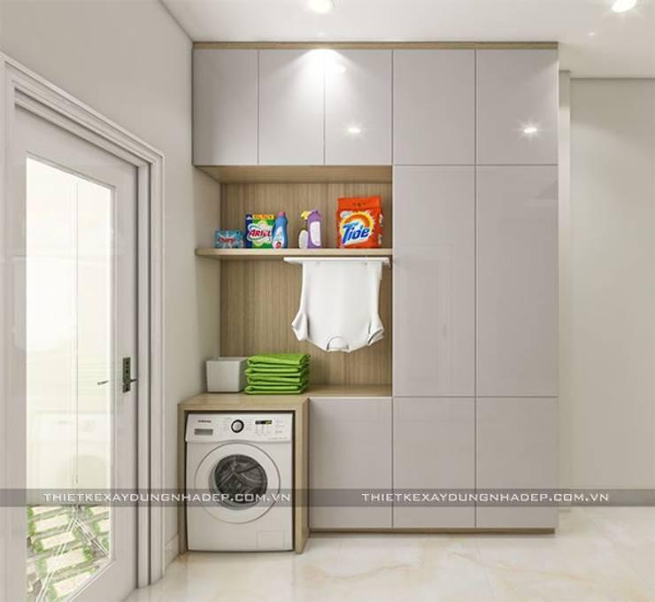 Mẫu nhà đẹp 3 tầng 5x12m đơn giản mà đẹp phù hợp với mọi gia đình:  Phòng thay đồ by Công ty cổ phần tư vấn kiến trúc xây dựng Nam Long