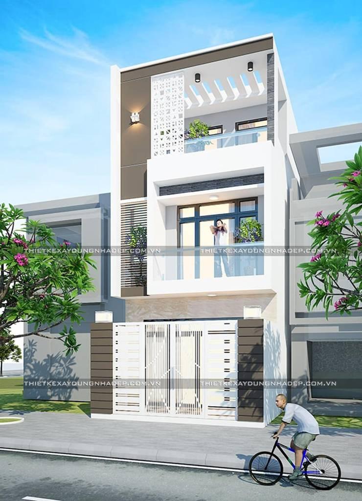 Mẫu nhà đẹp 3 tầng 5x12m đơn giản mà đẹp phù hợp với mọi gia đình:  Nhà by Công ty cổ phần tư vấn kiến trúc xây dựng Nam Long