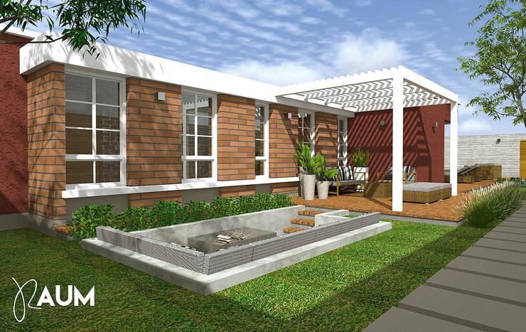 Fachada Lateral: Casas de campo de estilo  por RAUM Estudio