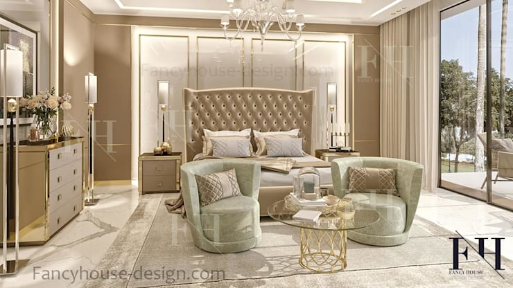 ​Luxury Master bedroom interior design in Dubai:  Bedroom by Fancy House Design, Eclectic Marble