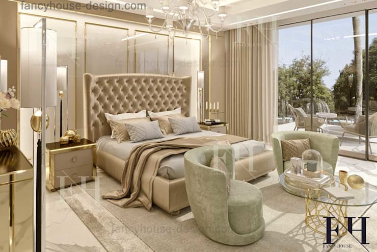 Bedroom interior design:  Bedroom by Fancy House Design, Eclectic Silver/Gold