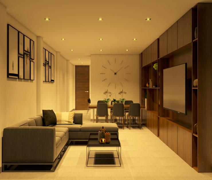 SALA COMEDOR NOCTURNO: Salas / recibidores de estilo  por UPAA ARQUITECTOS