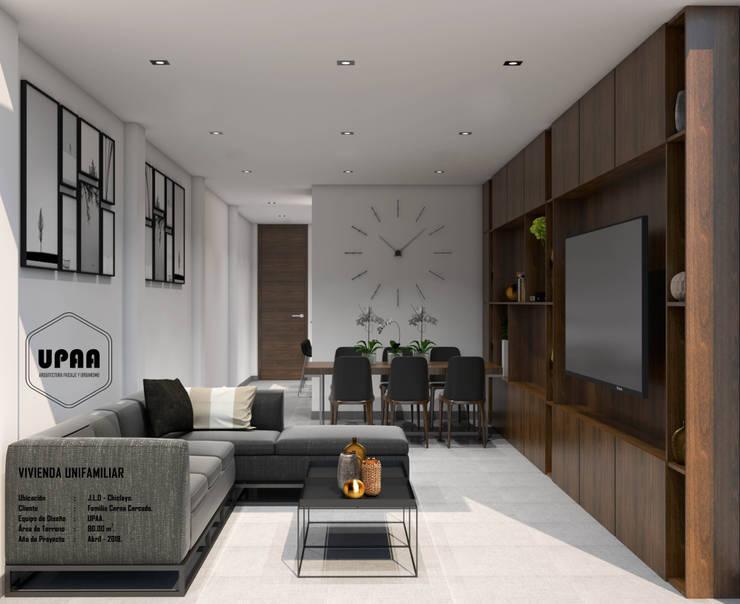 SALA COMEDOR DIURNO: Salas / recibidores de estilo  por UPAA ARQUITECTOS