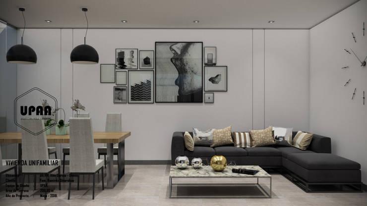 SALA COMEDOR: Salas / recibidores de estilo  por UPAA ARQUITECTOS, Moderno