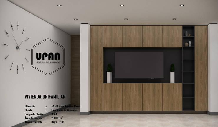 ESTAR TV: Salas de entretenimiento de estilo  por UPAA ARQUITECTOS, Moderno