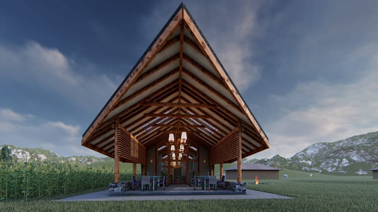Terrasse de style  par FRANCO CACERES / Arquitectos & Asociados,