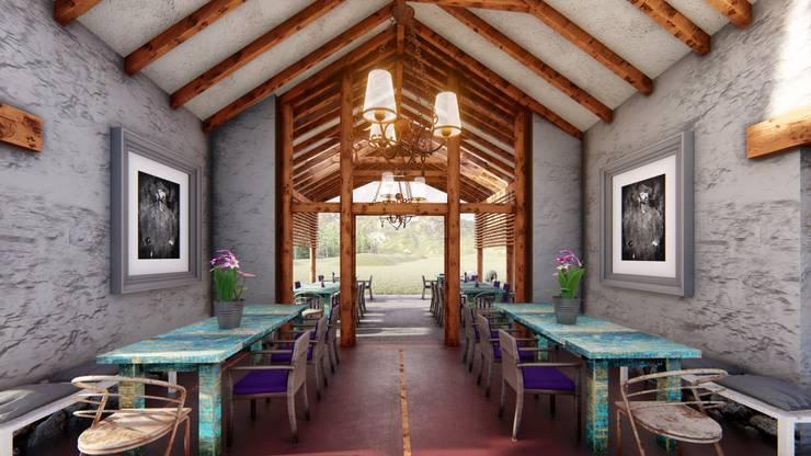 Salle à manger de style  par FRANCO CACERES / Arquitectos & Asociados,