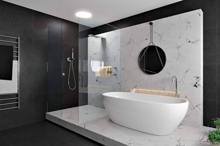 Marble Bathroom:  Bathroom by Zero Point Visuals