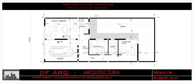 Tipologia vivienda unifamiliar de dos dormitorios.: Casas unifamiliares de estilo  por DF ARQ,
