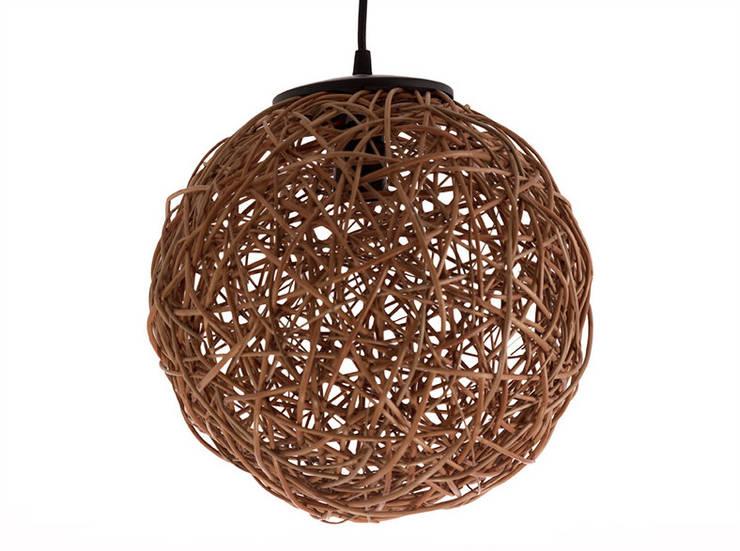 Lámpara tipo esfera: Comedor de estilo  por ELMIMBRE Spa - Diseño, Fabricación y Comercialización de productos en Mimbre - Región Metropolitana - Chile