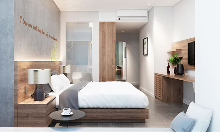 thiết kế nội thất phòng ngủ khách sạn hiện đại Thanhlong:  Phòng ngủ by thiết kế khách sạn hiện đại CEEB