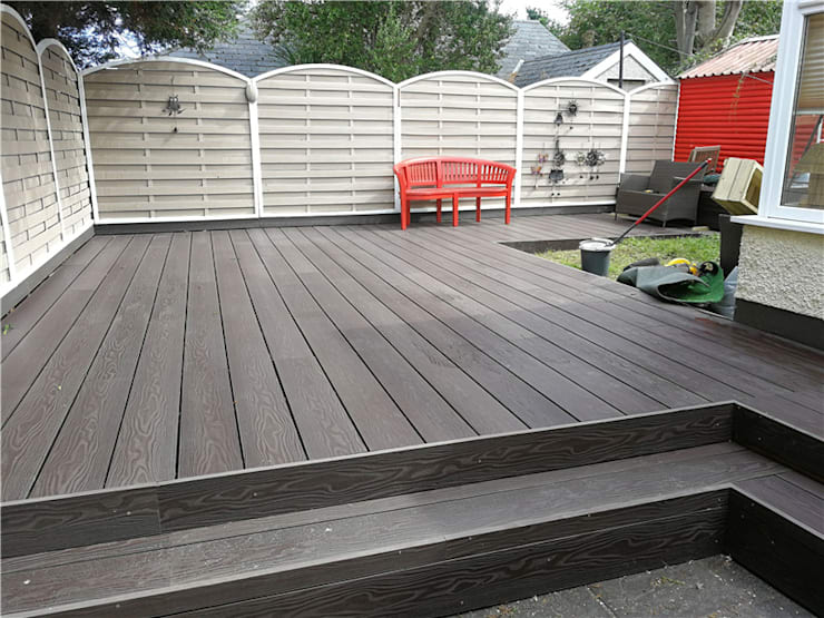 3D embossing composite decking board:  Front yard by Coowin Group