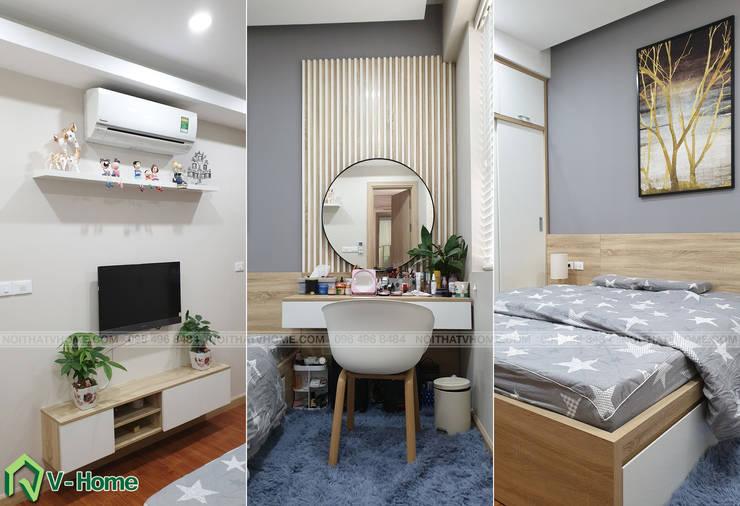 Nội thất phòng ngủ Master:  Bedroom by Công ty CP tư vấn thiết kế và xây dựng V-Home