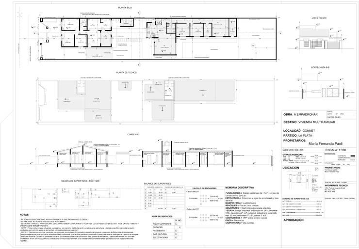 PLANO MUNICIPAL (EMPADRONAMIENTO)-  Dibujo cad para Arq. Patricia Morelli: Casas unifamiliares de estilo  por DF ARQ,