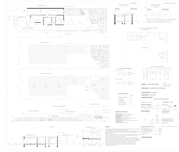 PLANO MUNICIPAL (EMPADRONAMIENTO)-  Dibujo cad para Arq. Patricia Morelli - Localidad Gorina: Casas unifamiliares de estilo  por DF ARQ,Moderno Concreto reforzado