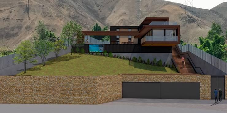 Fachada: Casas de campo de estilo  por MESIA ARQUITECTOS