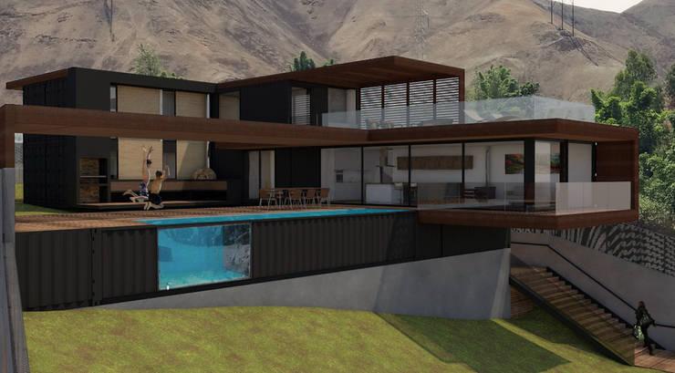 Vista área social. Jardín/piscina/sala/comedor: Casas de campo de estilo  por MESIA ARQUITECTOS, Moderno