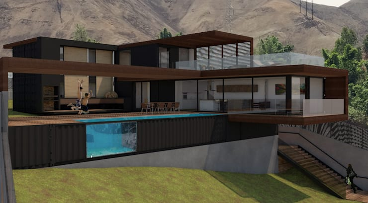 Vista área social. Jardín/piscina/sala/comedor: Casas de campo de estilo  por MESIA ARQUITECTOS