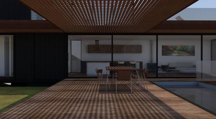 Terraza y cocina comedor: Casas de campo de estilo  por MESIA ARQUITECTOS, Moderno