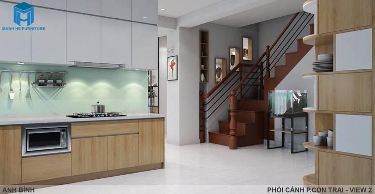 Designer:  Nhà bếp by Công ty TNHH Nội Thất Mạnh Hệ