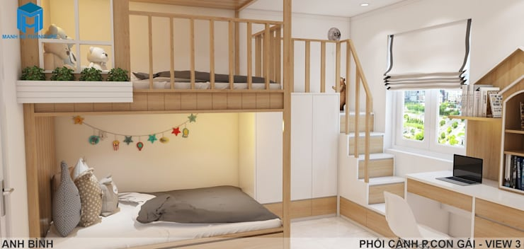 Designer:  Phòng ngủ bé gái by Công ty TNHH Nội Thất Mạnh Hệ