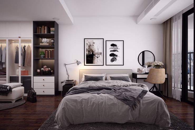 Thiết kế nội thất phòng ngủ chung cư 01:  Phòng ngủ nhỏ by Kiến trúc Doorway