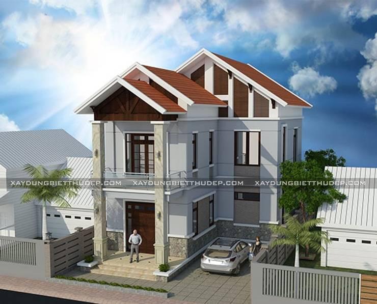 Thiết kế biệt thự 2 tầng chữ L đẹp:  Nhà by Xây Dựng Biệt Thự Đẹp