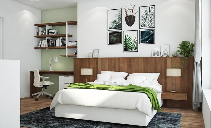 Cách 5: Trang trí phòng ngủ đơn giản với tranh ảnh:  Bedroom by Kiến trúc Doorway