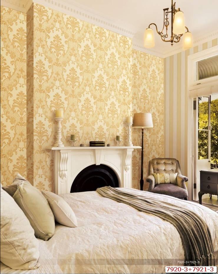 Cách 4: Trang trí phòng ngủ đơn giản với giấy dán tường:  Bedroom by Kiến trúc Doorway