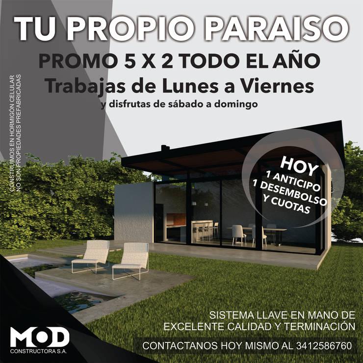 IMAGINATE: Casas de estilo  por MOD CONSTRUCTORA SA,